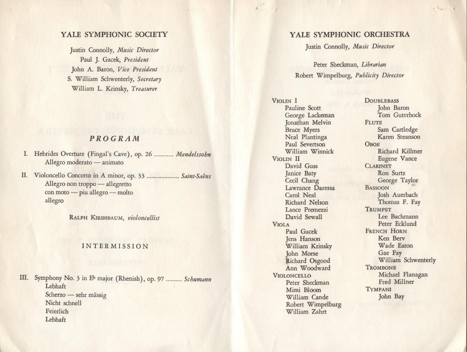 November 29, 1965 - Concert Program
