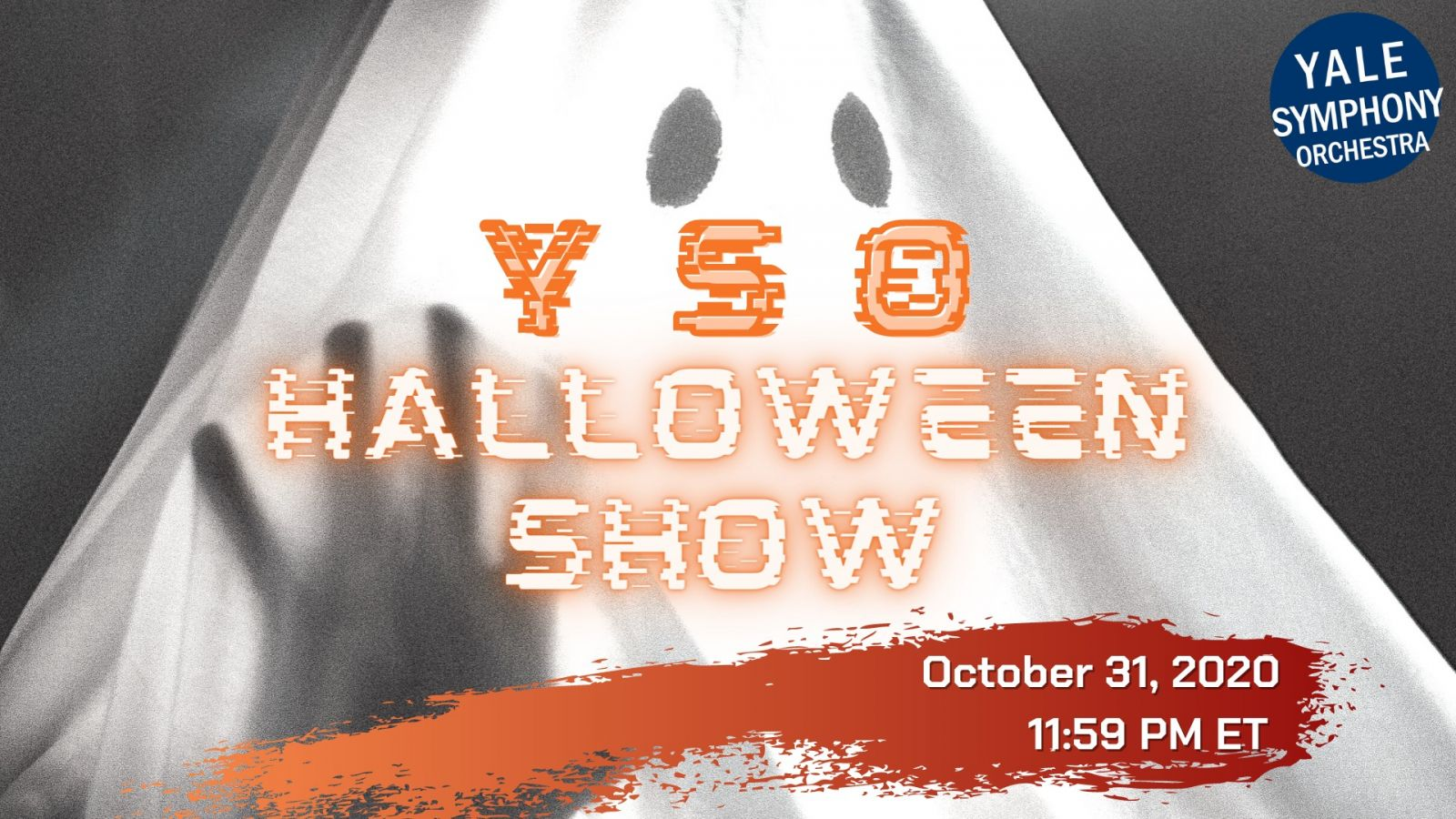 Poster for 2020 Halloween Concert. Orange and white lettering over an image of a sheet made to look like a ghost.