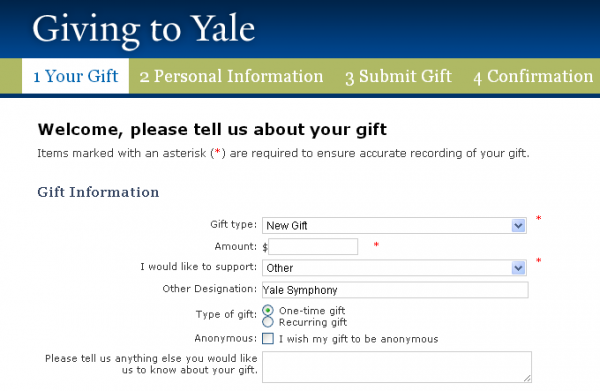 Giving to Yale form screenshot